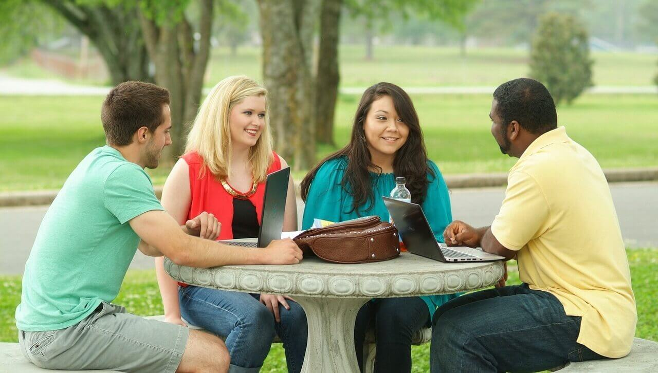 college and university students study group